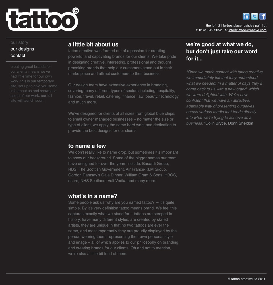 Tattoo Creative Branding and Design Agency Paisley Glasgow